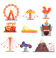 Amusement park with family attractions set of vector