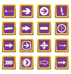 arrow icons set purple vector image