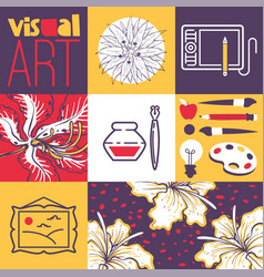 Art supplies tools for painting drawing vector