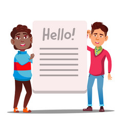asian boy and afro american boy with big book or vector image