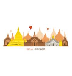 Bagan myanmar architecture landmarks skyline vector