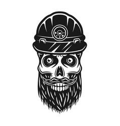 bearded skull dead miner in protective helmet vector image