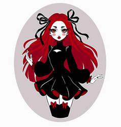 beautiful gothic doll in cartoon style vector image