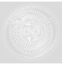 Birds mandala theme Owl white mandala with vector image