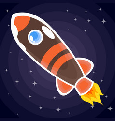 brown with orange stripes a space rocket with a vector image