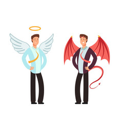 Businessman in angel and demon suit vector