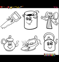cartoon funny object characters set coloring book vector image