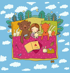 cartoon girl sleeping in bed baby and toys vector image