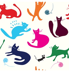 Cats playing seamless pattern funny vector