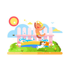 Child boy play in garden pool vector