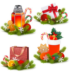 christmas concept icons vector image