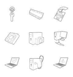 Computer repair icons set outline style vector
