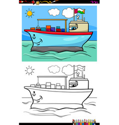 container ship character coloring book vector image