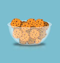 Cookies in bowl biscuit in deep transparent plate vector