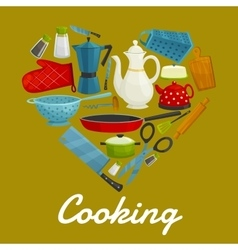 Cooking heart of kitchenware and utensils vector