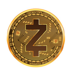 Crypto currency zcash golden symbol vector