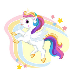 cute cartoon unicorn with long mane and wings vector image