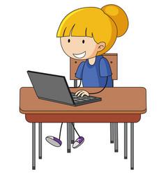 Cute girl using laptop doodle cartoon character vector