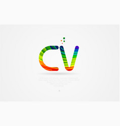 Cv c v rainbow colored alphabet letter logo vector