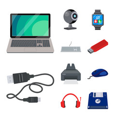 Design of laptop and device icon set of vector