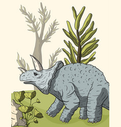 Dinosaur triceratops in its habitat vector