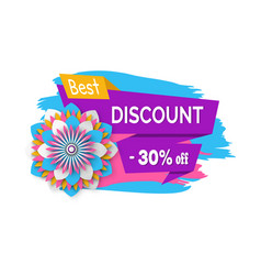 Discount 30 percent banner with sale price flower vector