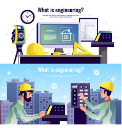 Engineering horizontal banners vector