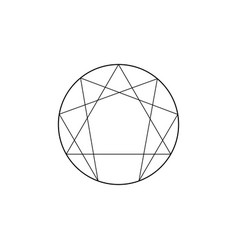 Enneagram icon sacred geometry isolated vector