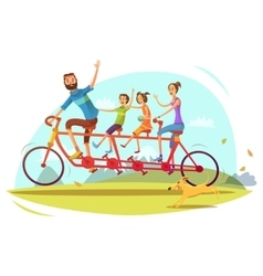 Family And Bicycle Cartoon vector image