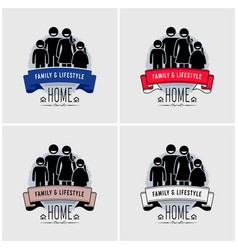 Family value logo design artwork of a happiness vector