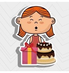 Girl cake gift box vector