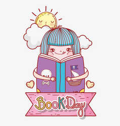 Girl read book to literature day vector