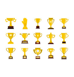 gold cup icon set flat style vector image