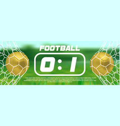 gold soccer or golden football green banner with vector image