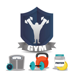 Gym man weight food chronometer label vector