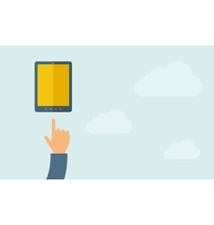 Hand pointing mobile phone with blank screen vector image