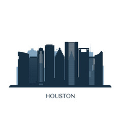 houston skyline monochrome silhouette vector image
