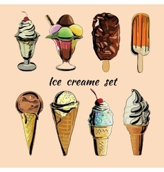 ice creame set Hand drawn vector image