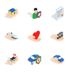 insurance icons isometric 3d style vector image