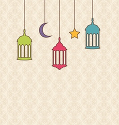 Islamic Background with Arabic Hanging Lamps for vector image
