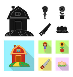 Isolated object of farm and agriculture logo set vector