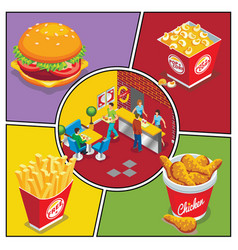 isometric fast food colorful composition vector image