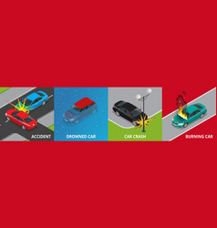 Isometric road accident drowned car car crash vector
