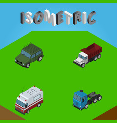 isometric transport set of freight first-aid vector image
