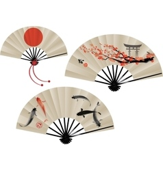 Japanese fans set vector