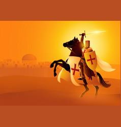 knight templar on horse vector image
