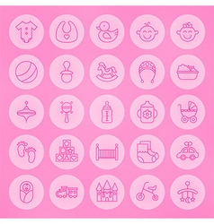 Line Circle Newborn and Baby Icons Set vector