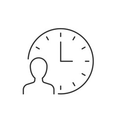 man with clock line icon on white background vector image