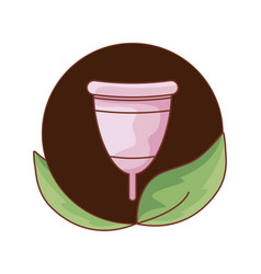 Menstrual cup female in frame circular with leafs vector