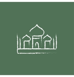 Mosque icon drawn in chalk vector